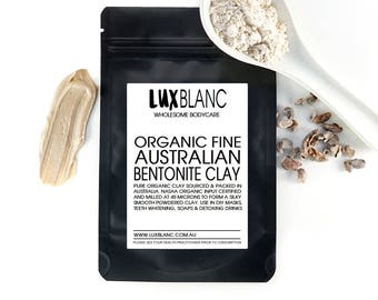 100% Australian Bentonite Clay | Food Grade | For Face Masks | Pure | Scrubs | 50g 100g 200g
