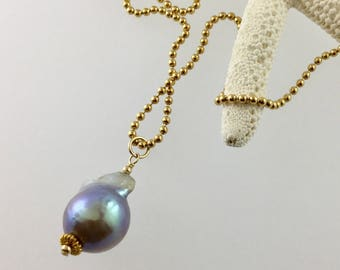 Grey Freshwater Pearl pendant/ pearl pendant/ Freshwater pearl /grey pearl/gold chain /gray pearl/pearl Jewellery