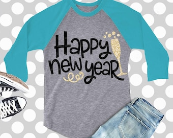 Happy New Year svg, new year's svg, new year's shirt, new year's eve, SVG, DXF, EPS, 2018 svg, cut file, commercial use, iron on, digital