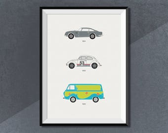 60's Movie Lovebug Scooby Doo James Bond Car Collection Print