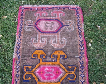 Turkish Rug 1x2 Gray Wool Pile Small Vintage Rug Hand Knotted Semi Antique Area Rug - EDEN0102