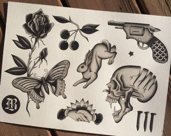Hand Painted Tattoo Flash Sheet