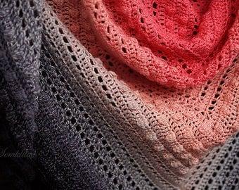 Crochet shawl, knitted triangular shawl, oversized lace shawl, cotton shawl