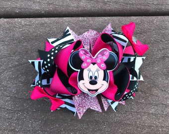 Minnie Mouse bow Minnie Mouse birthday bow pink and black Minnie Mouse hair bow Minnie Mouse disney bow birthday bow Disney parks bow Minnie