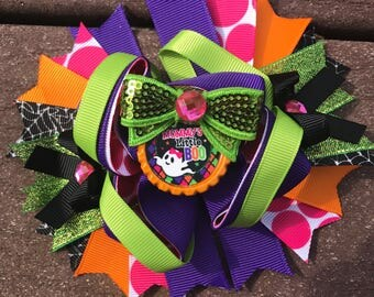Halloween bow mommy's little boo halloween hair bow halloween headband halloween party halloween bow halloween costume bow halloween