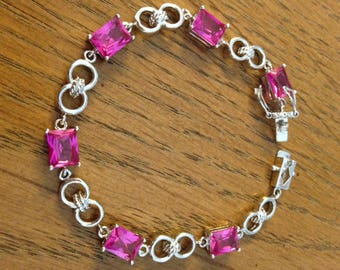Sterling Silver Bracelet with Pink Sapphires