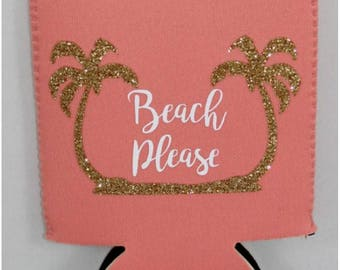 Beach Please Palm Tree Can Cooler Choose Color