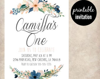 Whimsical Navy and Peach Birthday Invitation | Floral First Birthday