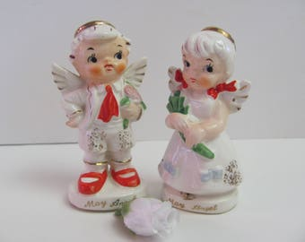 MAY SALT/ PEPPER , May Angel Salt and Pepper Set, Shakers, Hand Painted by Artmatk Originals, May Angel Salt and Pepper Shaker Set, Artmark