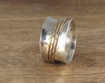Sterling Silver and Gold Spinner Ring - Mixed Metal Ring - Silver Spinner Ring - Silver Band Ring  - Custom Ring - Fidget Ring - SR007