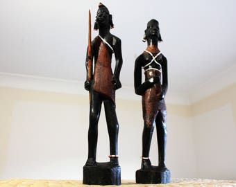 African Zulu Warriors Couple- Vintage Tall Handmade Sculpted Figurines - Rare Collectors Pieces - Gift