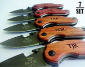 7 SET Personalized Easy Open Survival Pocket Knives. Gift for Him. Gift for Dad, Husband, Brother, Boyfriend, Groom, Groomsmen.