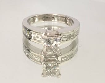 Certified 2.00 CT Princess & Baguette cut Diamond engagement Ring 18k white gold  hand made