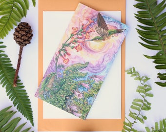 Hummingbird card - hummingbird cards - bird and flower card - hummingbird gift - hummingbird art - hummingbird greeting cards - blank card