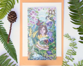 "Imaginature 3.5"" x 7"" Art Cards from Original Watercolour Paintings, imagination child butterflies flower waterfall frog moss realism nature"