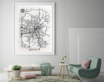 HUNTSVILLE AL Watercolor Map Art Black Ink and Light Watercolor Huntsville AL Vintage City Map Large Size Graphic Drawn Wall Art Canvas Map