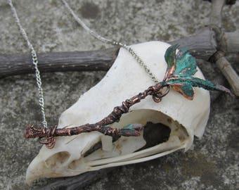 Tender real spring branch necklace copper electroformed