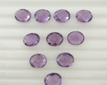 Amethyst   faceted Gemstone  9x11 mm oval  10 pieces lot code no. 11