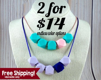 Discount Geometric Silicone Teething Necklace |  Breastfeeding Necklace | Babywearing Necklace Mom Gift | Cheap Necklace | Baby Shower Gift