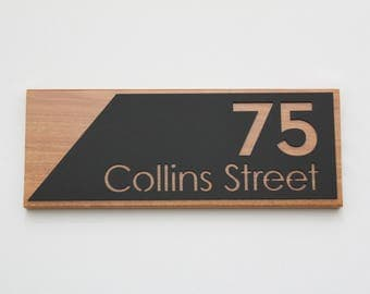 Custom house numbers / address sign made from Hardwood and Matte black Perspex