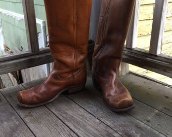 Vintage Frye Campus Boots from 1970's Size 8D | Vintage Brown Leather Boots | Pull on Boots
