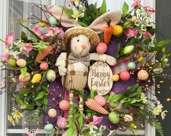 Easter Bunny Wreath- Easter Wreath- Spring  Wreath-  Front Door Wreath- Floral Wreath- Mantel Wreath-