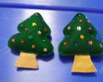 Hand sewed Christmas trees with sequins ornaments