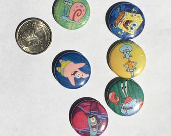 "Spongebob Squarepants 1"" Pinback Buttons Set of 6"