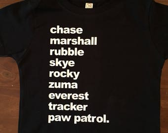 Paw Patrol personalized name shirts.