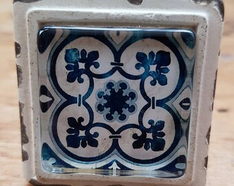 Blue and Cream Mediterranean Mosaic Door / Drawer / Cupboard Knob ~  Upcycling Project