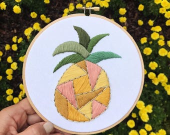 Hand Embroidered Geometric Pineapple
