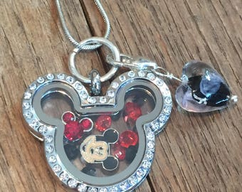 Mickey mouse floating charm - mickey mouse shaped jewelry - mickey mouse necklace - disney necklace - Memory lockets - mickey mouse jewelry