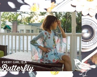 Girl Chiffon Flowers Baby Blue Kimono Dress, Flower Girl, Party, Special Occasion