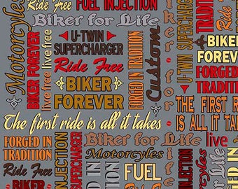 1649-26019-K BIKER FOR LIFE, Quilt Fabric, Biker Lingo, Harley Davidson, Indian Motorcycles, Quilting Treasures, Live To Ride, Ride To Live
