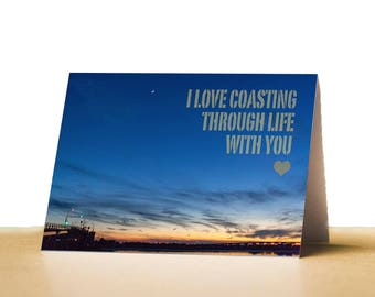 Coasting Printable Valentines Day Card for Husband, Wife, Valentines Card for Boyfriend, Girlfriend, Instant Download, Beach Valentine