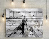 Cotton Anniversary Custom Music Sheet and Custom Portrait - 2nd Wedding Anniversary Gift, First Dance/ Wedding Song Music Notes on Canvas