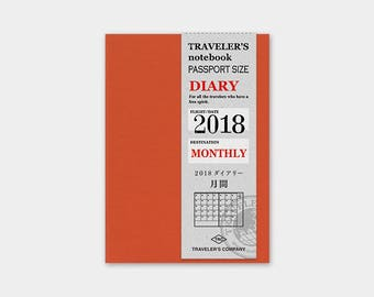 Traveler's Notebook 2018 Refill MONTHLY Passport size 14387006 Traveler's Company TF Midori Designphil Made in Japan  Free shipping Rare