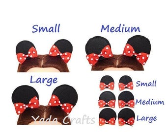 Disney Mickey Mouse Ears Minnie Mouse Ears Hair Clips with Bows Disneyland mini mouse ears Disney Party Birthday Favors Costume baby Girl