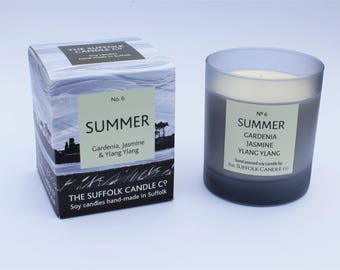 Gardenia, Jasmine and Ylang Ylang - handmade scented candle 100% soy wax in a smoked glass container 200g