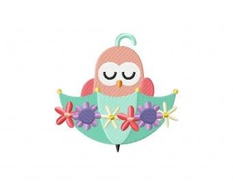 Spring umbrella owl floral machine embroidery design