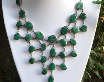 Emerald necklace, emerald stone, statement necklace, womens necklace choker, pendant necklace, emerald jewelry, green necklace, Indian