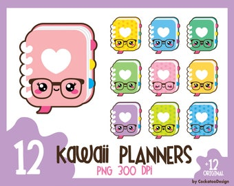 35% OFF, Planner clipart, kawaii planner clipart, notebook clipart, planner clip art, kawaii planner clip art, cute planner, Commercial