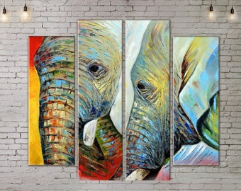 Art Print on Canvas, 4 piece wall art, Large Wall Art , Colorful Elephant , Canvas Art, Interior Art, Living Room Painting, 4 Panel Canvas,