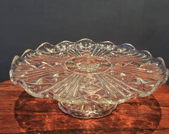 Glass Cake Stand - vintage pressed glass cakestand - 1950s glass cakestand on pedestal