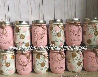 Pink and gold baby shower mason jars, gold polka dots, home decor, nursery decor, birthday centerpiece