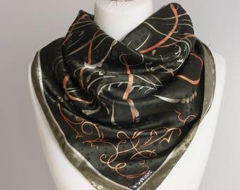 "vintage Square scarf, polyester scarf, fabric women scarf shawl 90cm / 35"" geometric scarf abstract scarf olive green orange swirl"