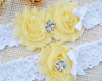 Light Yellow Garter, Bridal Clothing Yellow, Garter Set Yellow, Lace Garter Set, Yellow Keep Garter, Wedding Garter Belt, You Pick Colors