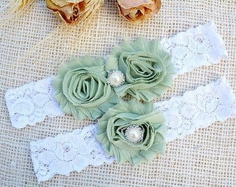 Wedding Garters, Linden Green Garter, Green Garter Set, Green Wedding Garter, Green Bridal Garter, Wedding Garter, Prom Garter, Olive Garter
