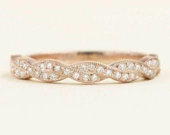 Twist Diamond Wedding Band.Rose Gold Wedding Band. 0.22ct High Quality Diamond Rope Wedding Band.14k White Gold Micro Pave Ring.Simple Band.