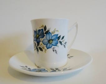 Elizabethan Taylor & Kent Fine Bone China Teacup and Saucer-Replacement-Vintage-Shabby Chic- Blue Flowers